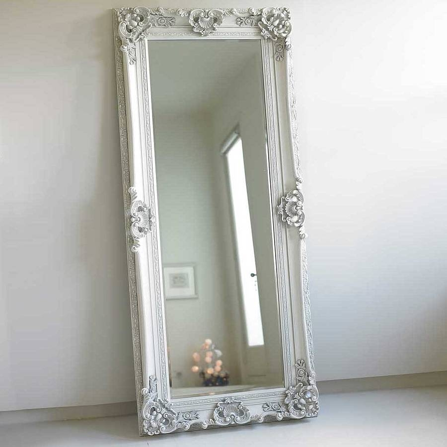 Ornate Wooden Mirror In Four Colours Romantic Shab Chic With Vintage Floor Mirrors Large (Image 12 of 15)