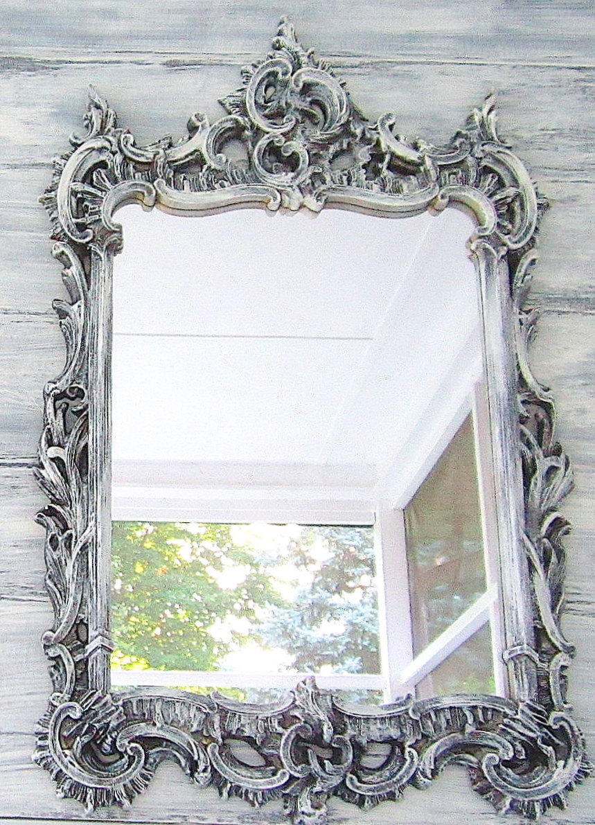 Ornate Wooden Mirror In Four Colours Within Vintage Mirrors Cheap (Image 10 of 15)