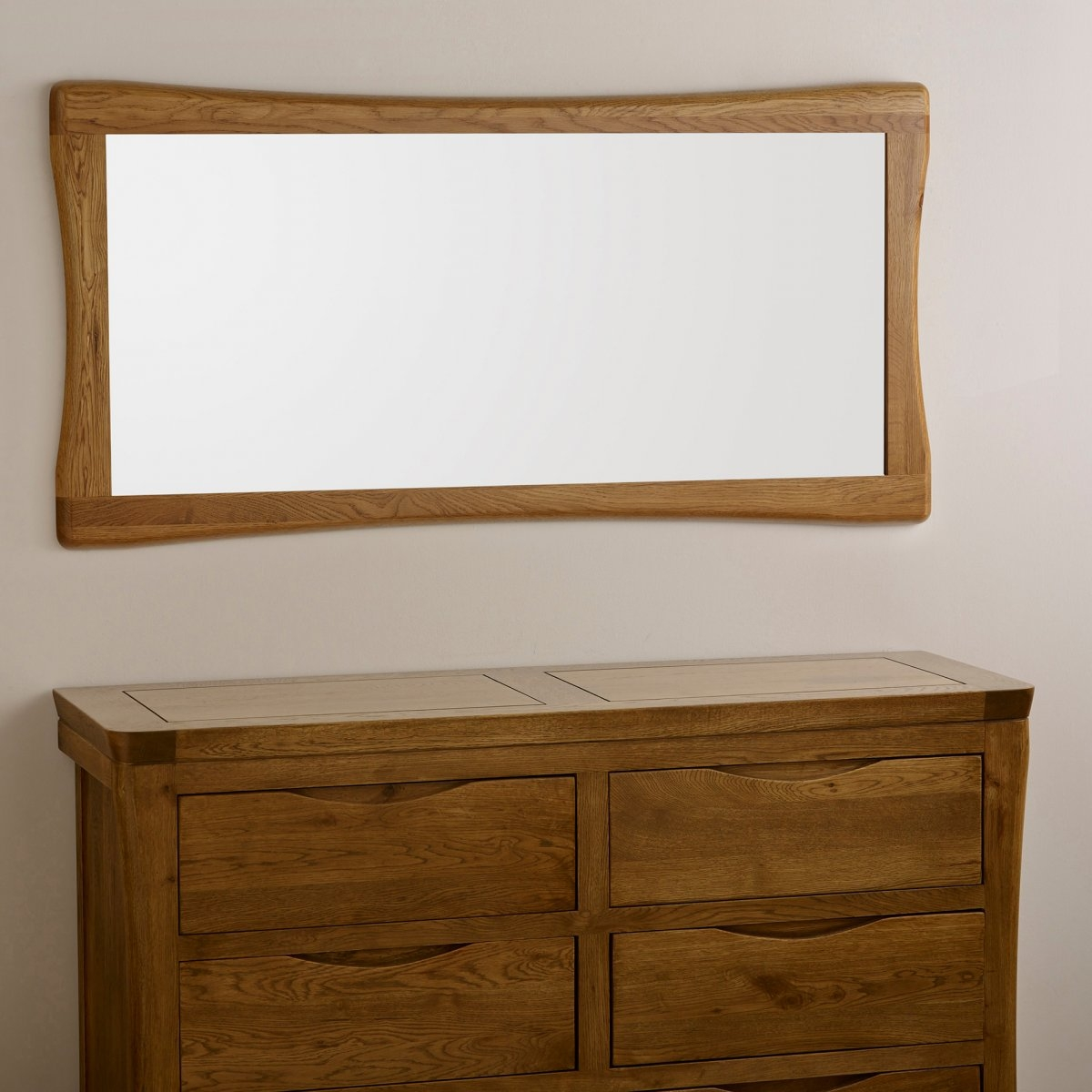 Orrick Wall Mirror In Natural Solid Oak Oak Furniture Land In Rustic Oak Mirror (Image 11 of 15)
