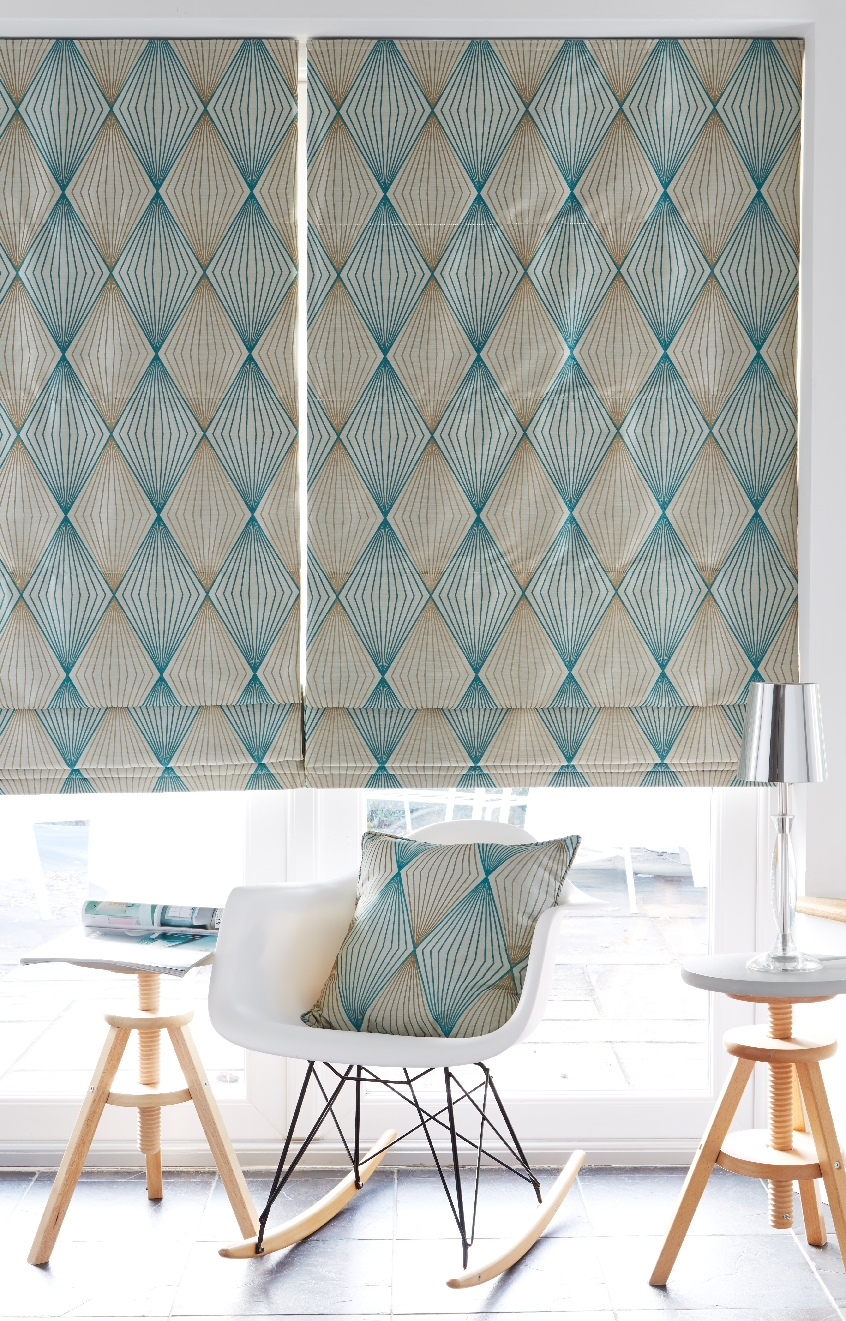 Our Diamond Teal Roman Blind Is Available With A Blackout Lining With Roman Blinds With Blackout Lining (View 1 of 15)
