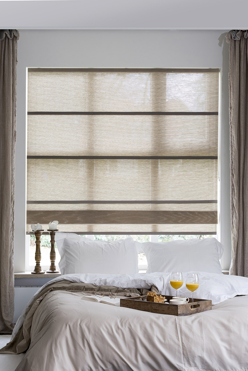 Our Folds Roman Blinds Made From Woven Paper Match Perfectly With Regard To Curtains With Matching Roman Blinds (Image 9 of 15)