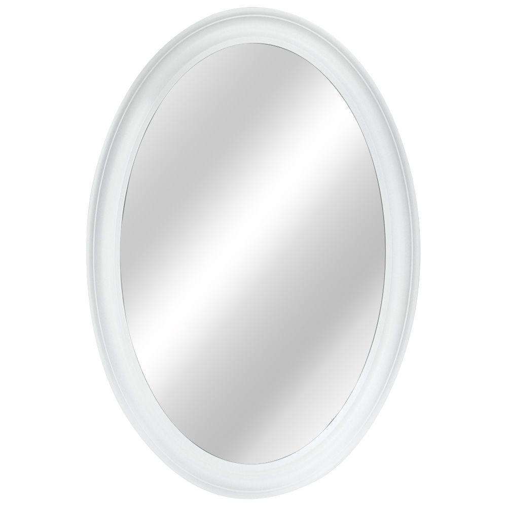 Oval Bathroom Mirrors Bath The Home Depot Throughout White Oval Wall Mirror (Image 5 of 15)