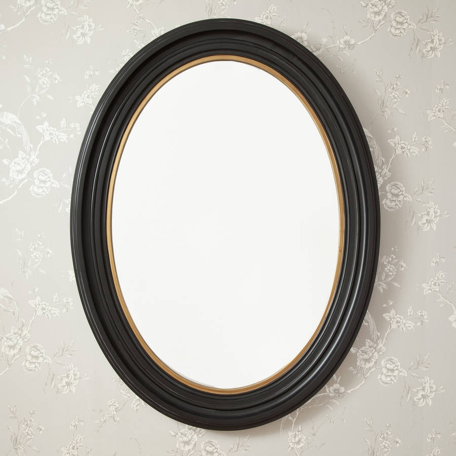 Oval Black And Gold Mirror Decorative Mirrors Online For Black Oval Mirror (Image 10 of 15)