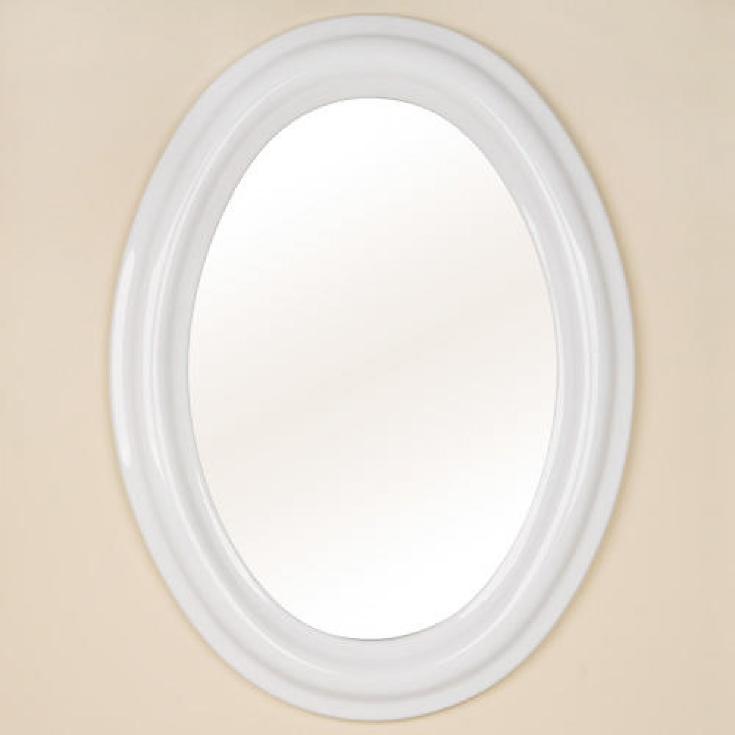 Oval Ceramic Mirror White Bathroom Throughout White Oval Wall Mirror (Image 6 of 15)