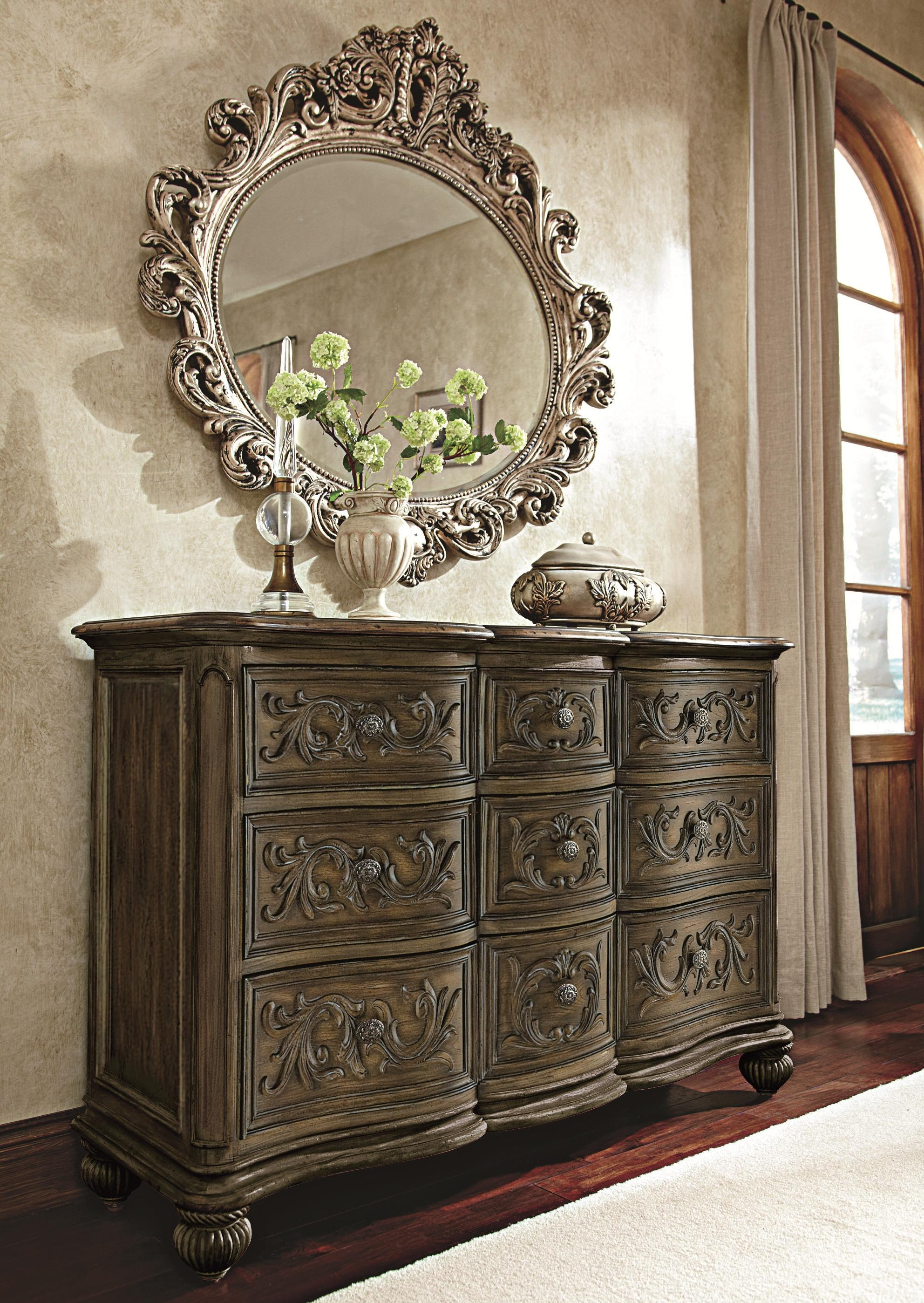 Oval Decorative Mirror With Silver Veil Finish American Drew Inside Boutique Mirrors (Image 14 of 15)