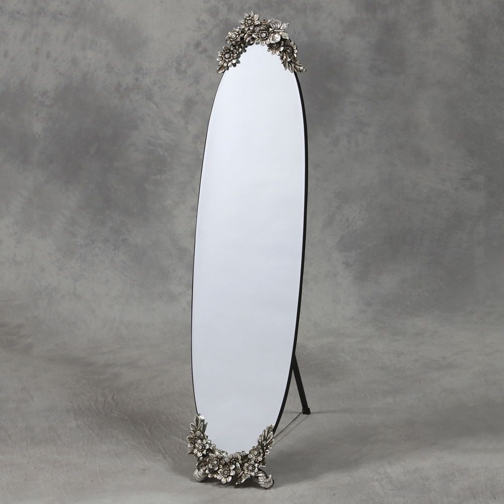 Oval Frameless Cheval Dressing Mirror With Silver Floral Chic For Ornate Free Standing Mirror (Image 13 of 15)