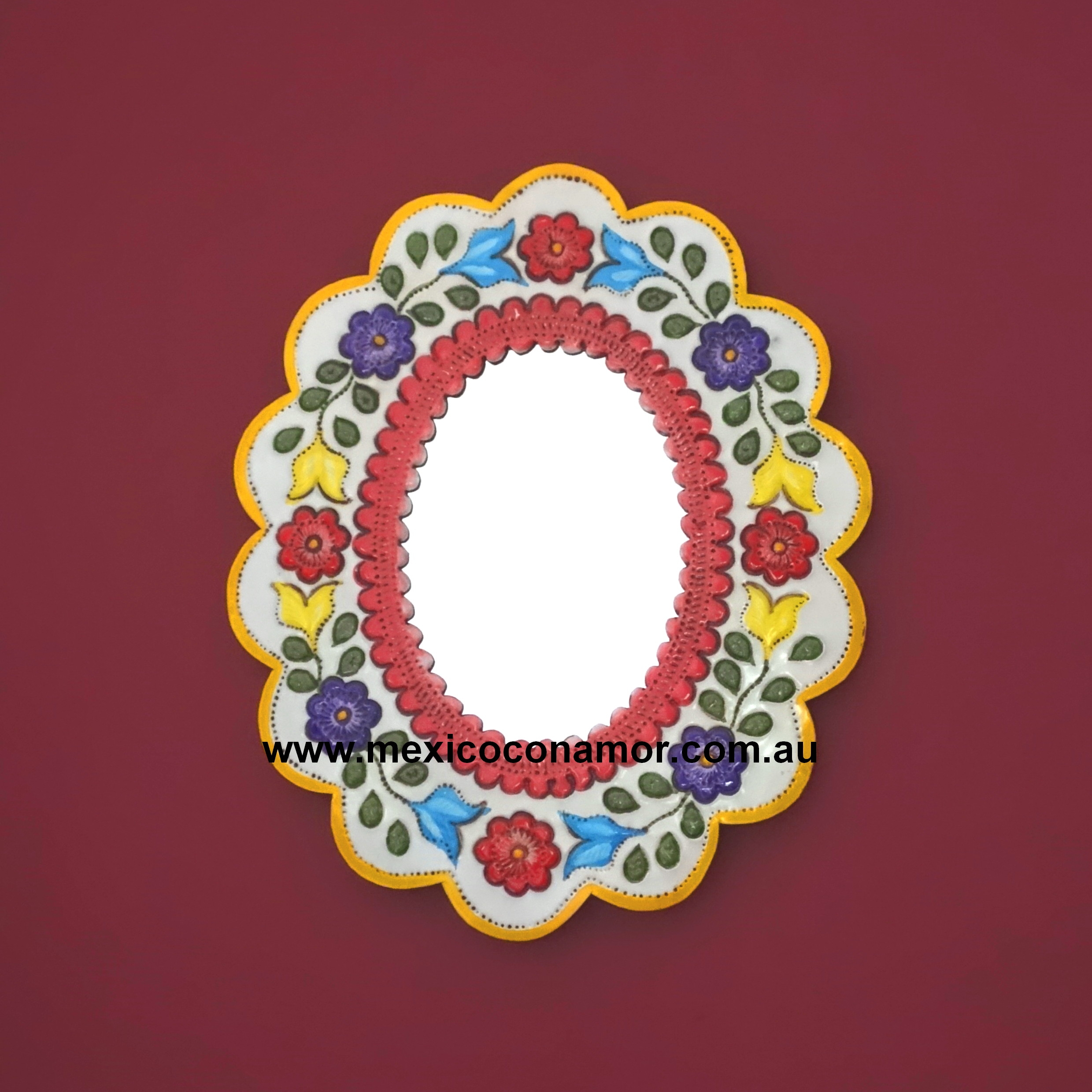 Oval Pressed Tin Mirror Coloured Mexico Con Amor For Pressed Tin Mirrors (View 13 of 15)