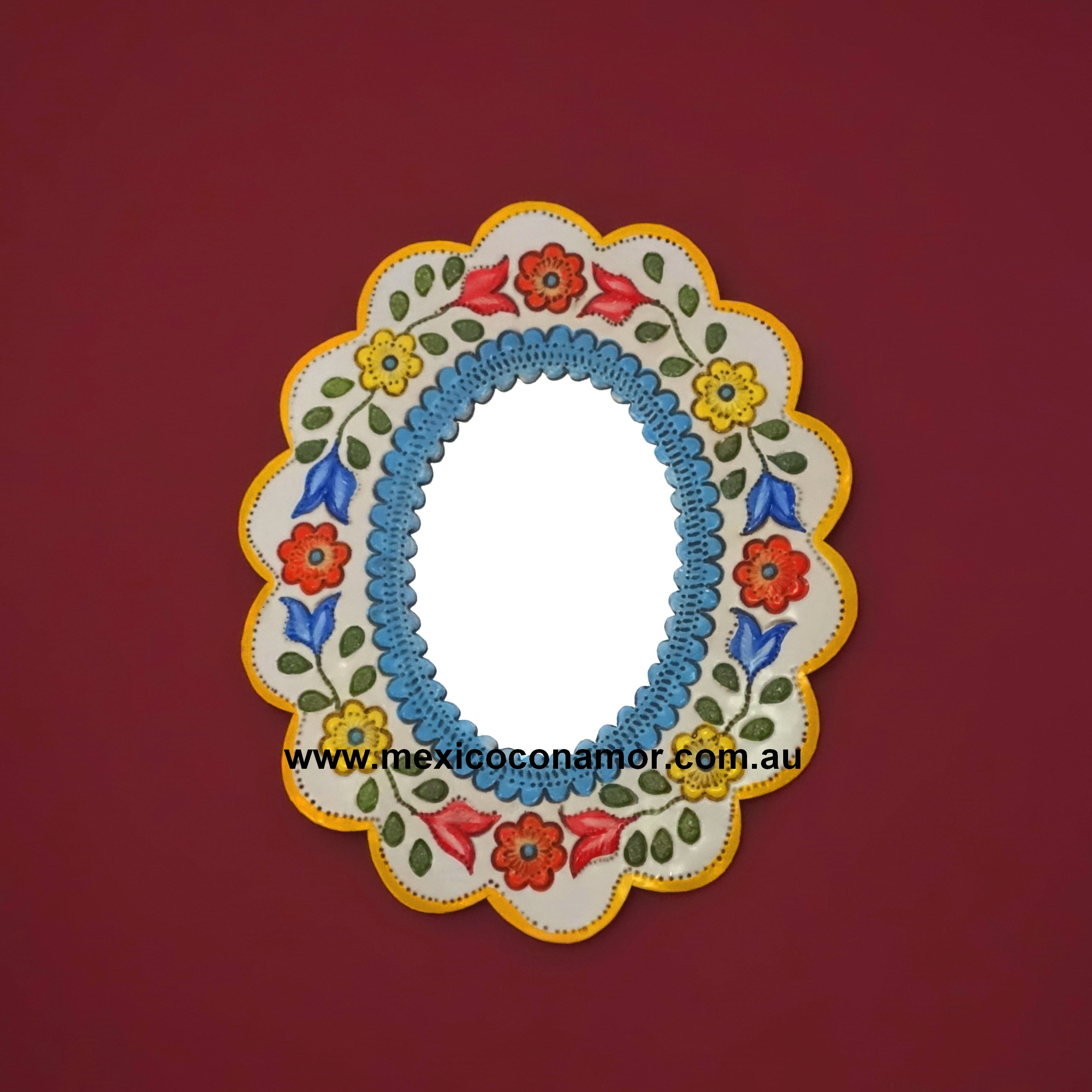 Oval Pressed Tin Mirror Coloured Mexico Con Amor Inside Pressed Tin Mirror (Image 6 of 15)