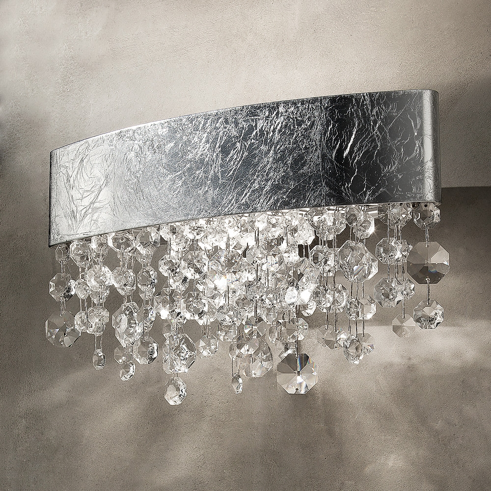 Oval Silver Leaf Chandelier Style Wall Light Juliettes Interiors Inside Chandelier Wall Lights (Image 10 of 15)