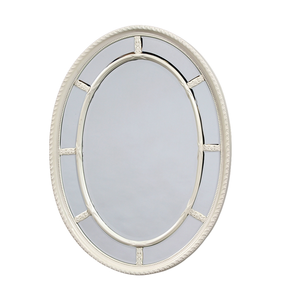 Oval White Mirror Artflyz Pertaining To White Oval Mirrors (Image 7 of 15)