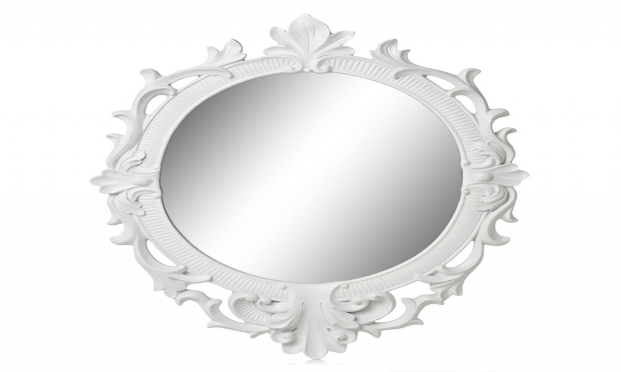 Oval White Mirror White Rococo Mirror Oval White Oval Wall Mirror With Black Rococo Mirror (View 10 of 15)