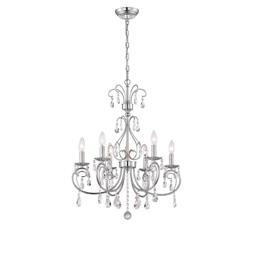 Ove Decors Sera 6 Light Chrome Chandelier Sera The Home Depot For Chrome Chandeliers (Image 13 of 15)