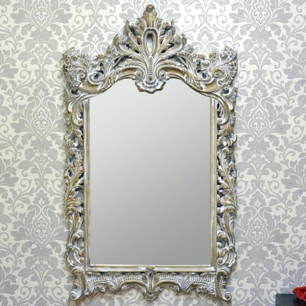 Oversized Wall Mirror Carved Louis Leaner Cream French Style Glass Pertaining To Large French Style Mirror (Image 12 of 15)
