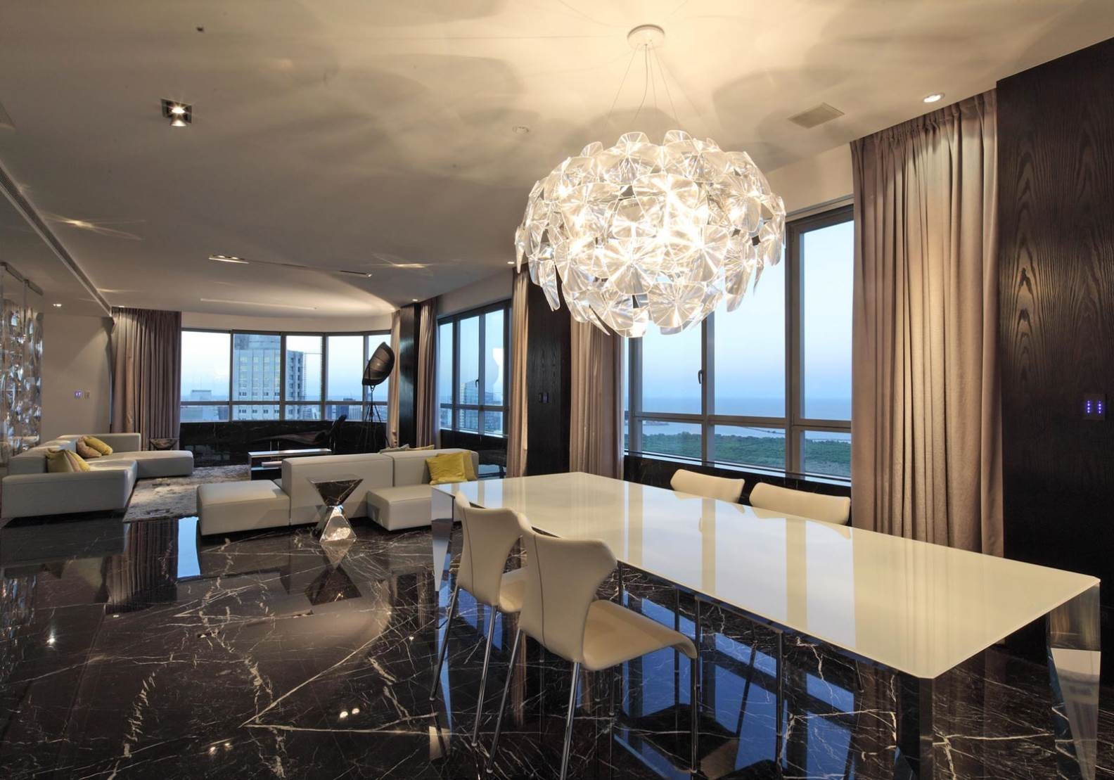 Overwhelming Modern Dining Room Lighting Globe Shape Crystal Shade Within Contemporary Large Chandeliers (Image 15 of 15)
