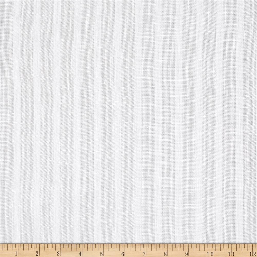P Kaufmann Nikki 100 Linen Striped Sheers Winter White Window With Regard To Sheer Linen Fabric Curtain (Image 6 of 15)