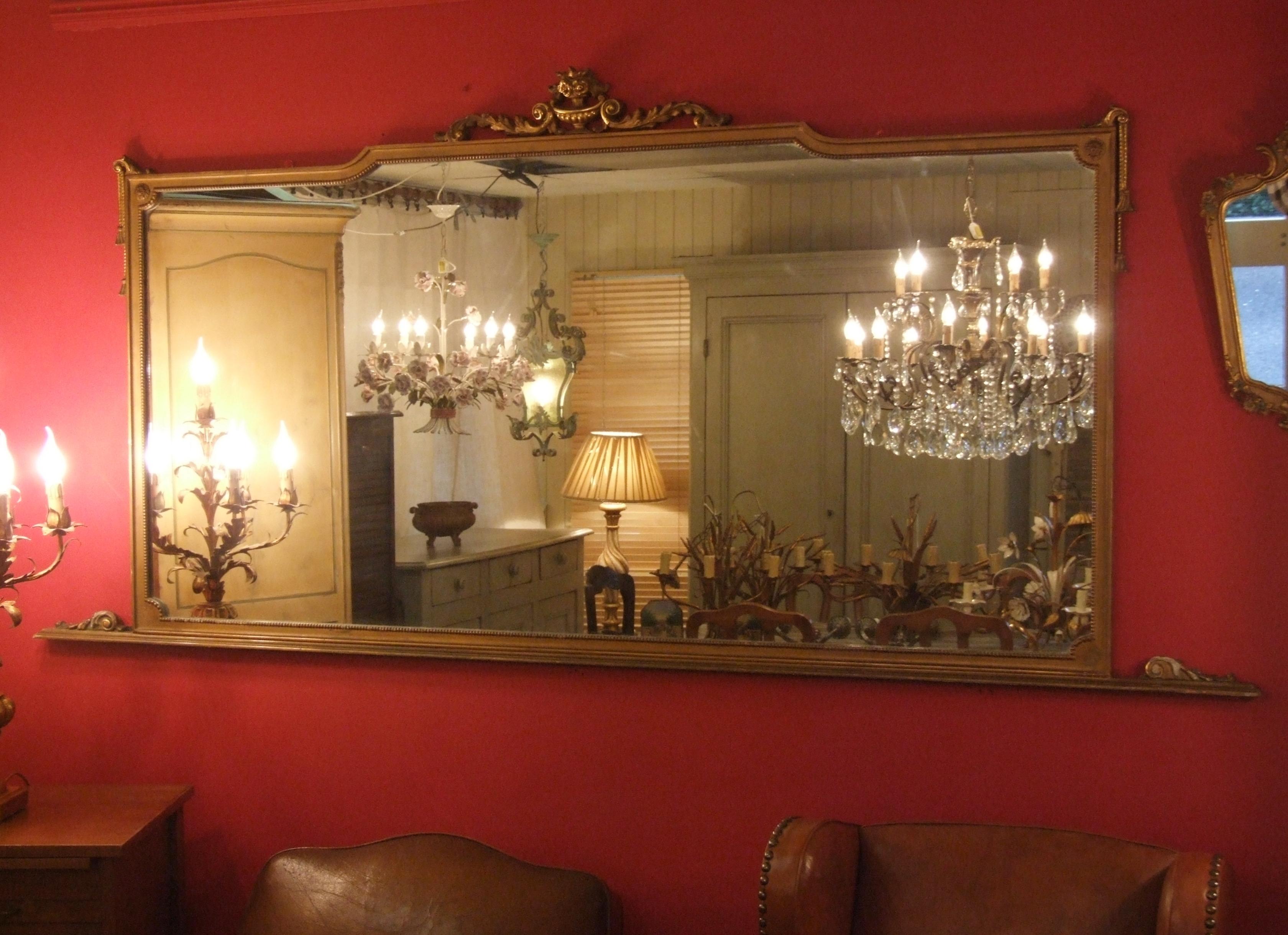 P094s Large Elegant Vintage Italian Gilded Landscape Mirror For Large Landscape Mirror (Image 14 of 15)