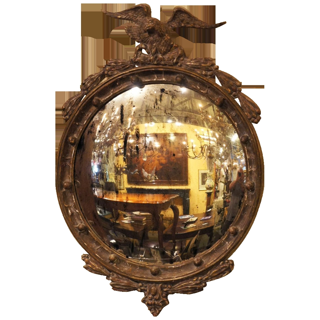 Painted English Regency Eagle Convex Mirror Sold On Ru Lane Intended For Antique Convex Mirrors For Sale (View 12 of 15)