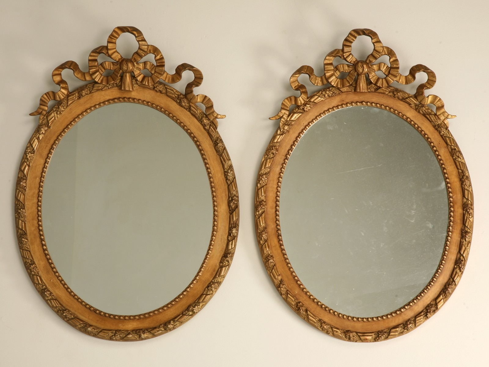 Pair Antique French Carved Gilded Mirrors For Sale Old Plank Within French Mirrors Reproduction (Image 15 of 15)