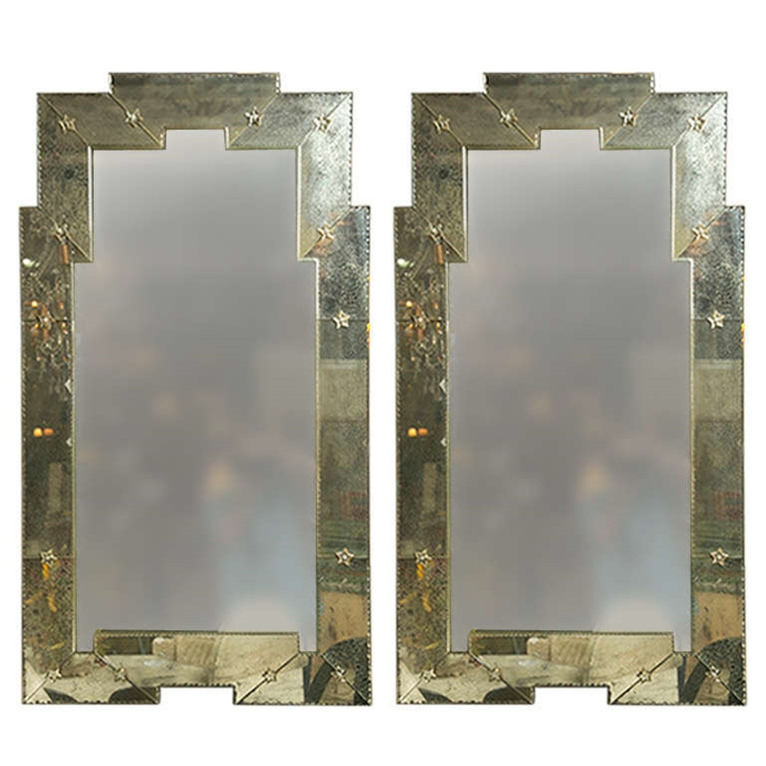 Pair Of Art Deco Style Distressed Venetian Mirrors Art Deco Throughout Art Deco Venetian Mirror (View 7 of 15)