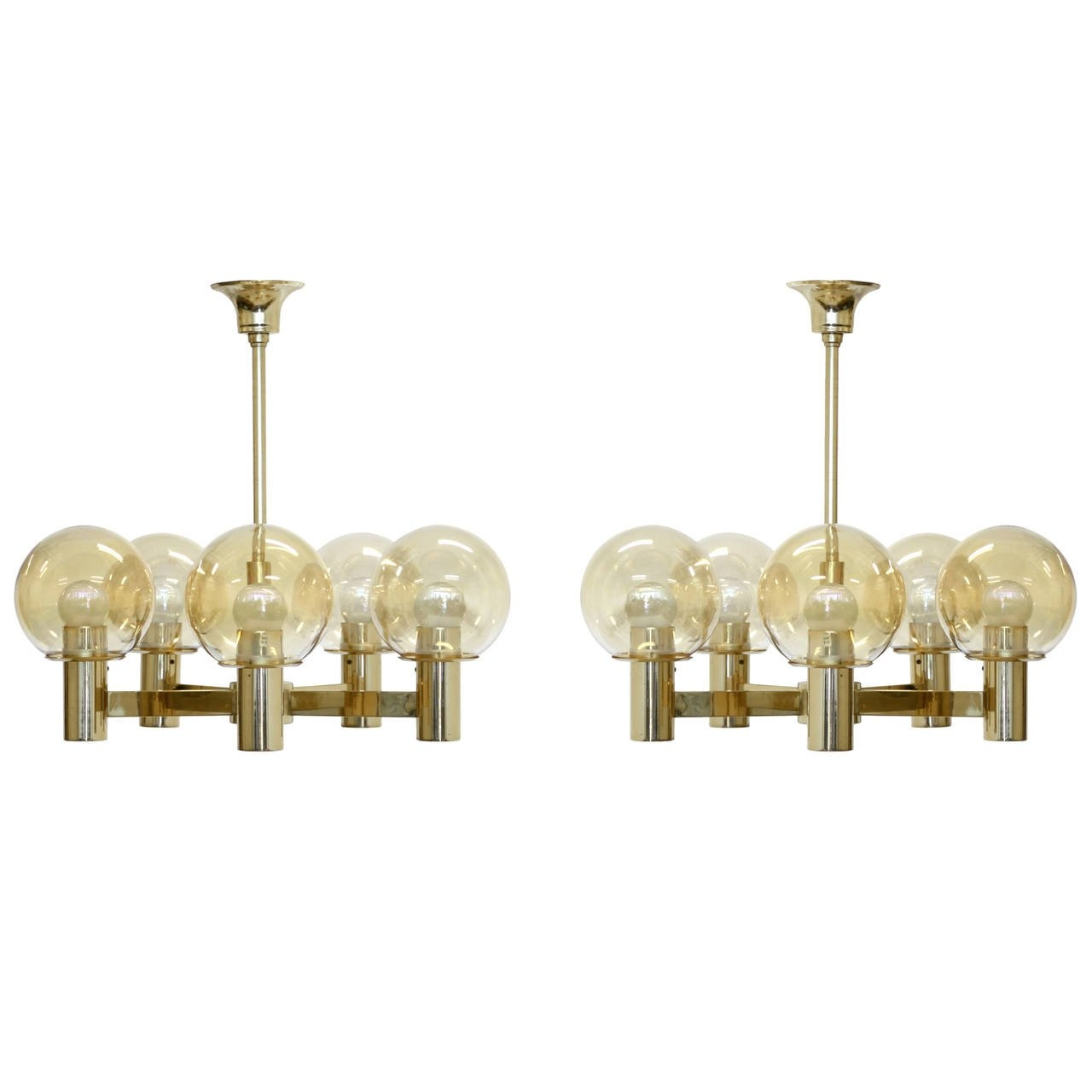 Pair Of Brass Chandeliers Hvik Lys At 1stdibs Pertaining To Brass Chandeliers (Image 10 of 15)