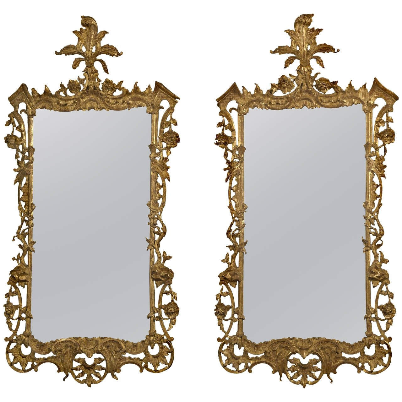 Pair Of Carved Giltwood Mirrors In The Rococo Style For Sale At Throughout Rococo Style Mirrors (Image 11 of 15)
