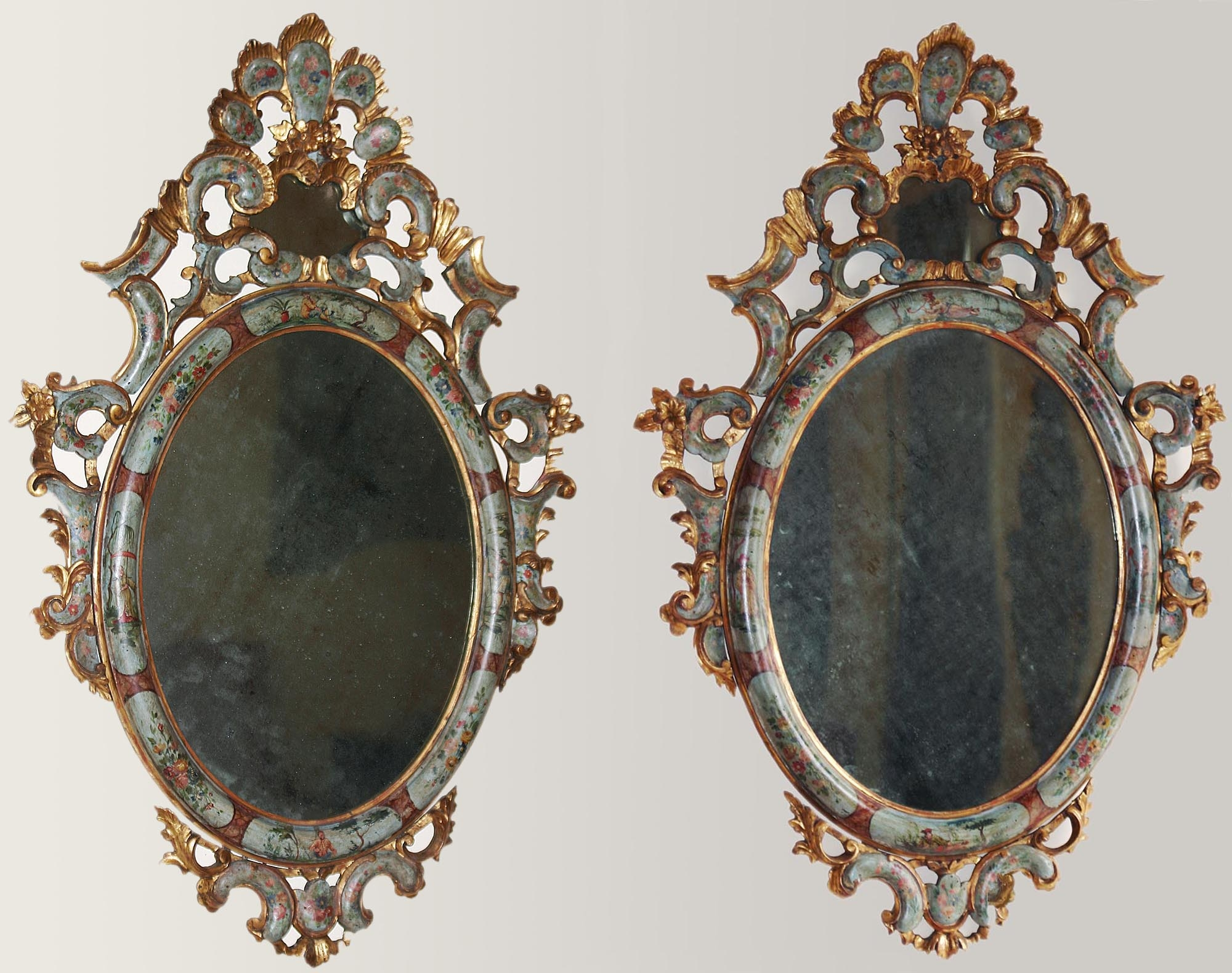 Pair Of Fine Venetian Rococo Period Painted And Parcel Gilded Throughout Gilded Mirrors For Sale (Image 15 of 15)
