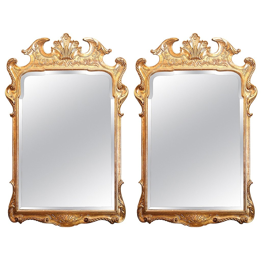 Pair Of Gilt Mirrors With Low Key Carving On The Frame For Sale At With Gilt Mirrors (Image 15 of 15)