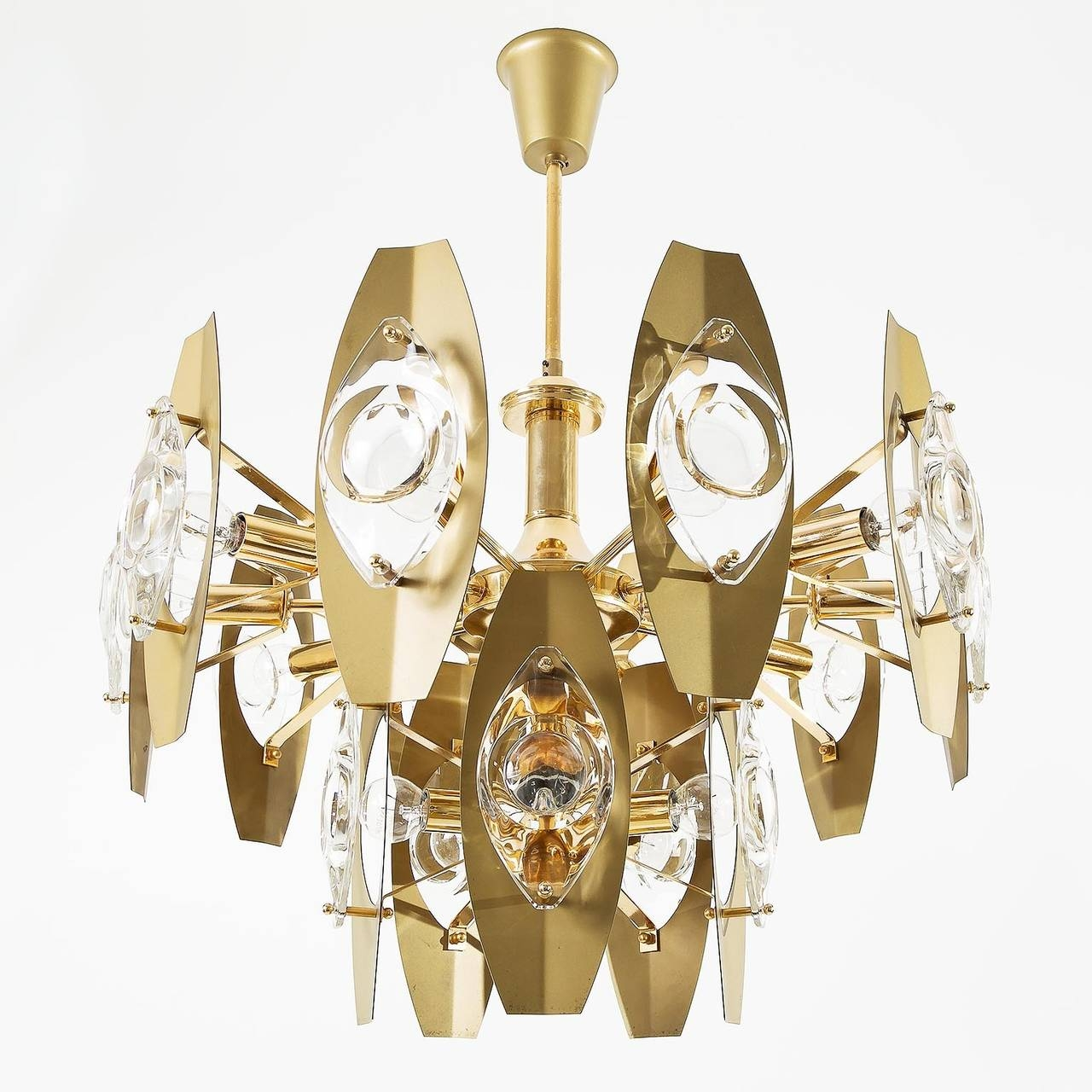 Pair Of Large Italian Gaetano Sciolari Chandeliers Lens Glass Within Brass Chandeliers (Image 12 of 15)