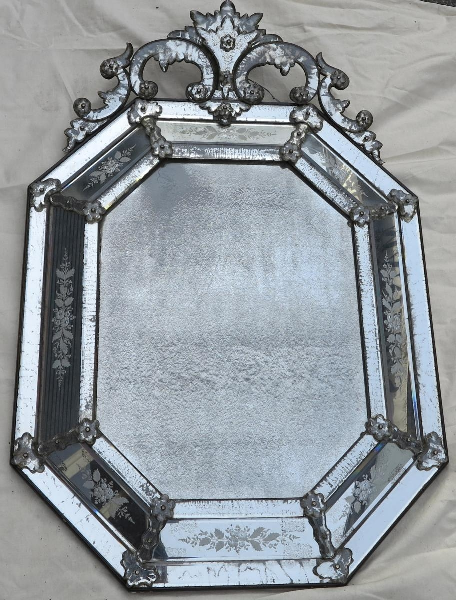 Pair Of Octagonal Mirrors Veronse With Parecloses In Old Looking Intended For Old Looking Mirrors (Image 11 of 15)