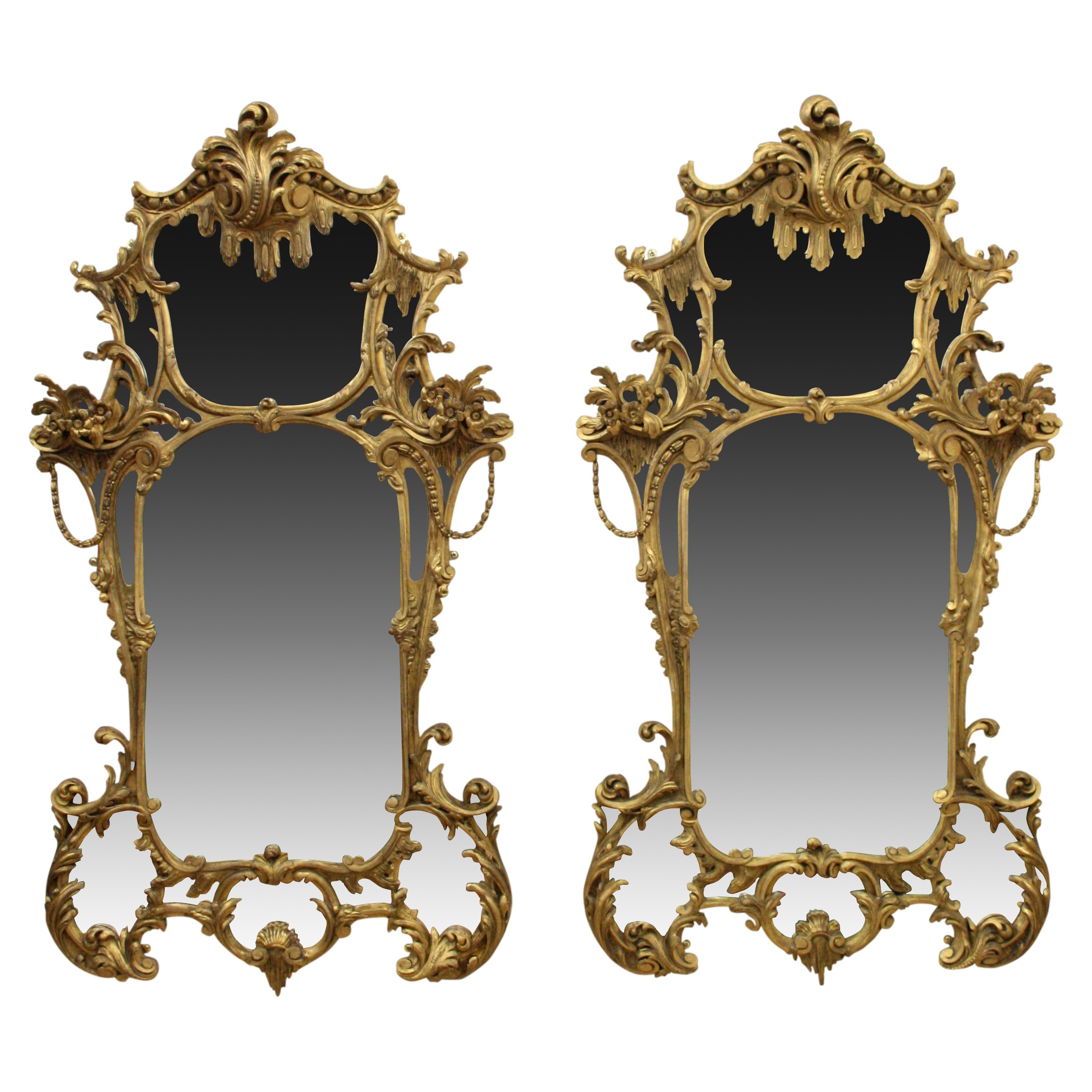 Pair Of Rococo Style Gilt Mirrors C 1860 United Kingdom From Pertaining To Rococo Style Mirrors (Image 12 of 15)