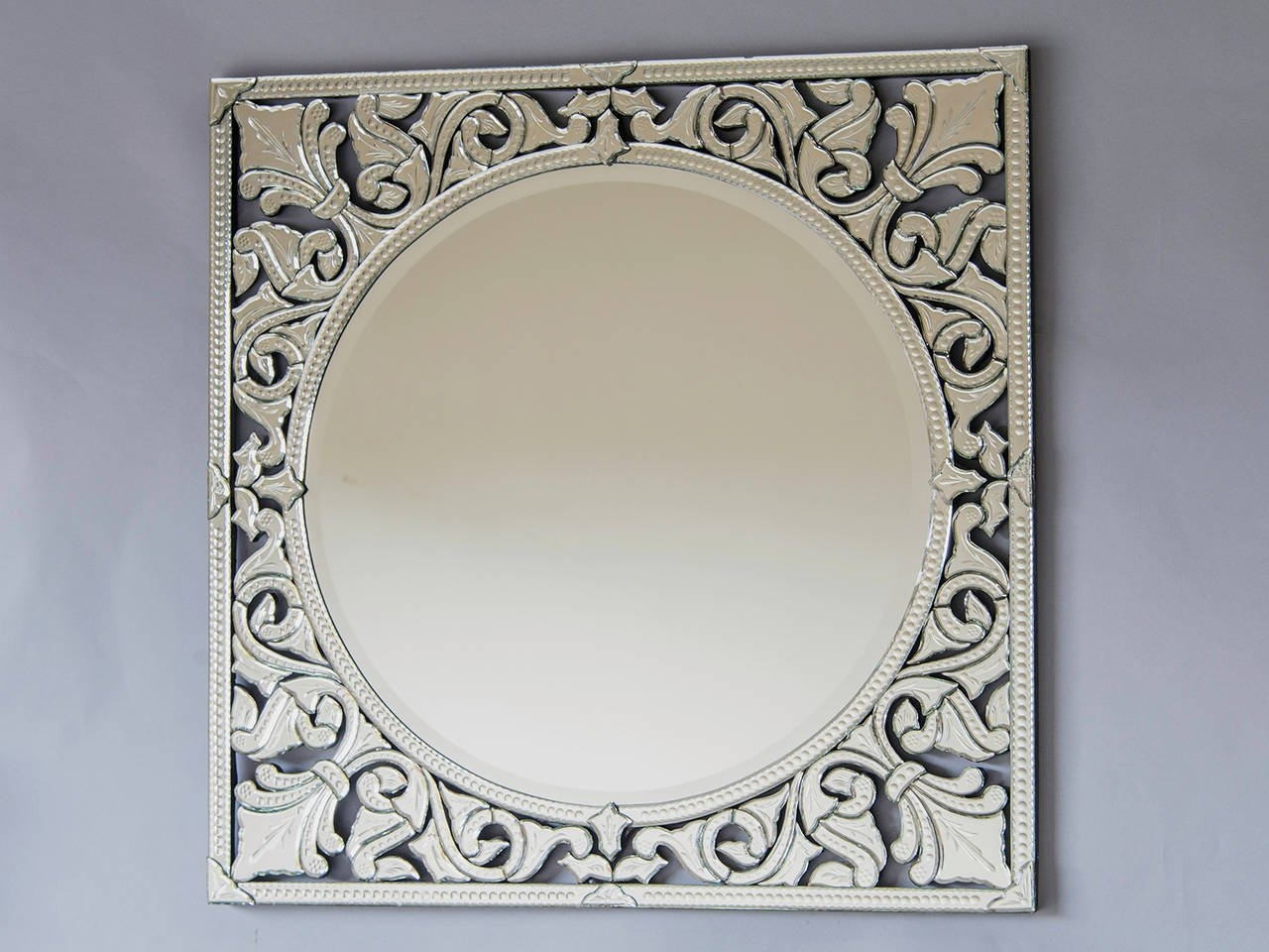Pair Of Square Venetian Mirrors Italy At 1stdibs Within Square Venetian Mirror (Image 11 of 15)
