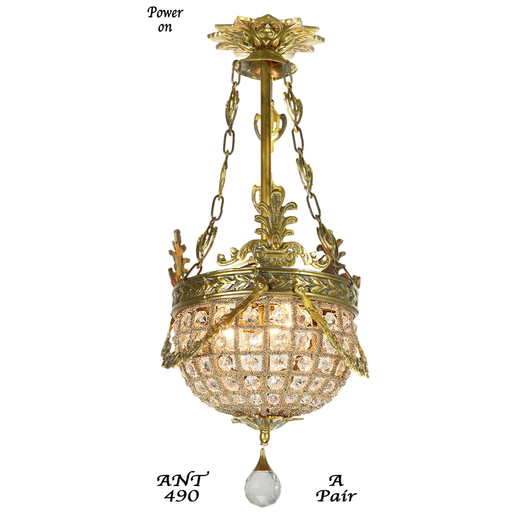 Pair Of Vintage European Victorian Basket Style Crystal Ball Intended For Antique Style Chandeliers (Image 13 of 15)