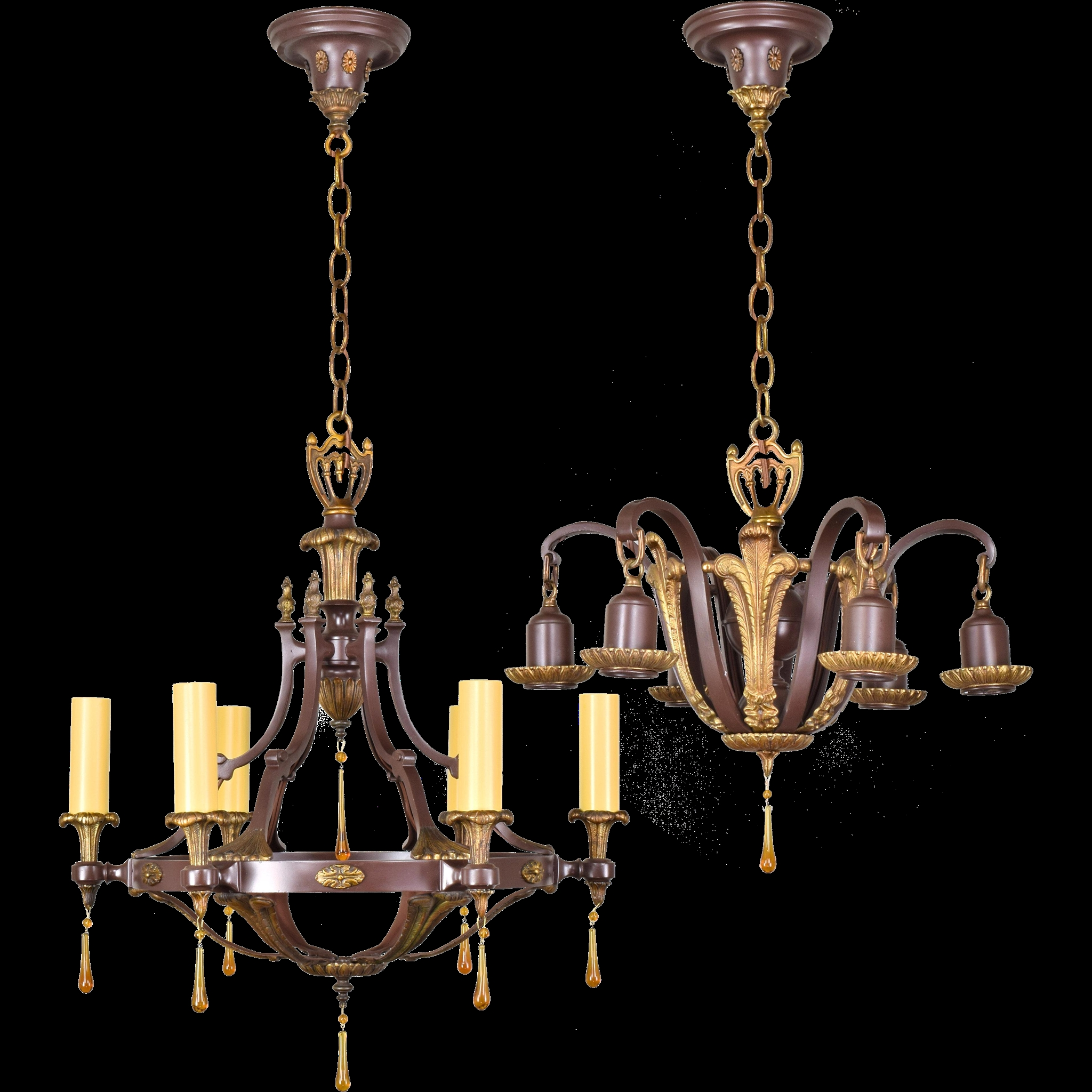 Pair Ornate Brass Vintage Up And Down Light Fixtures Chandeliers With Regard To Ornate Chandeliers (Image 13 of 15)