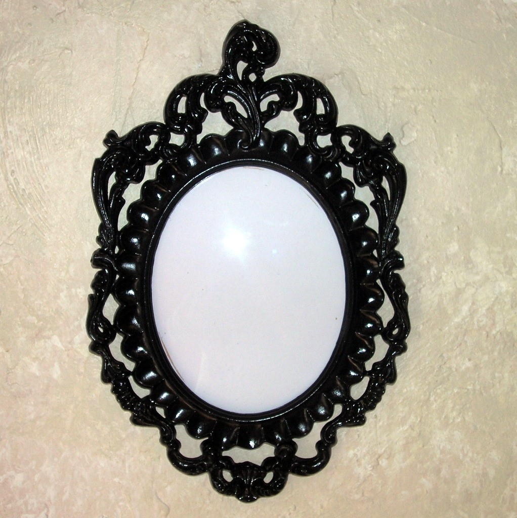 Pair Upcycled Black Victorian Oval Frames With Bubble Glass Throughout Oval Black Mirror (Image 10 of 15)
