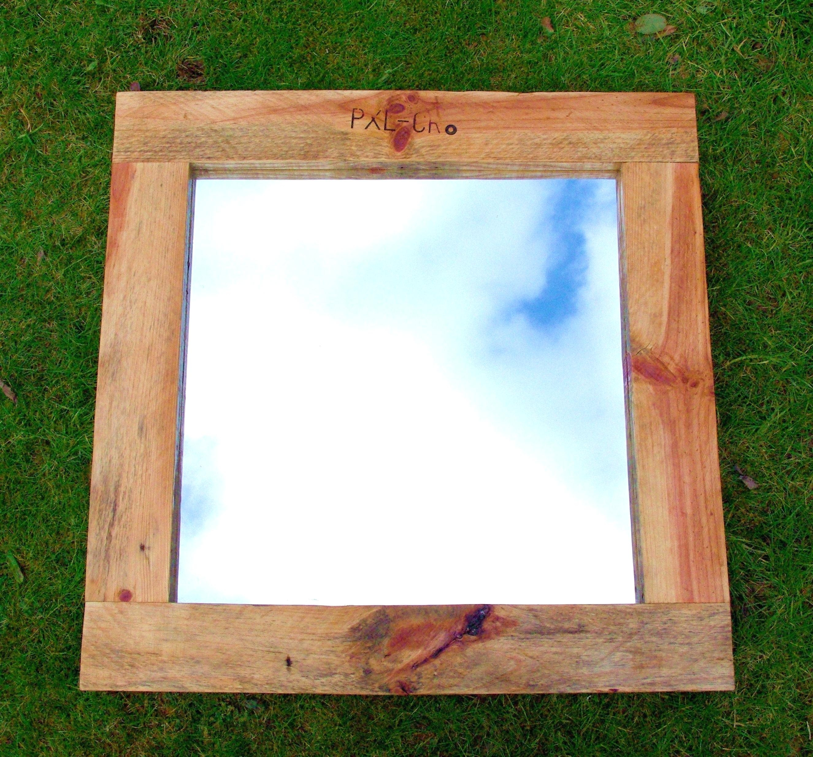 Pallet Wood Mirror Natural Finishoak Framed Mirrors Uk Wooden For Intended For Oak Mirrors For Sale (Image 14 of 15)