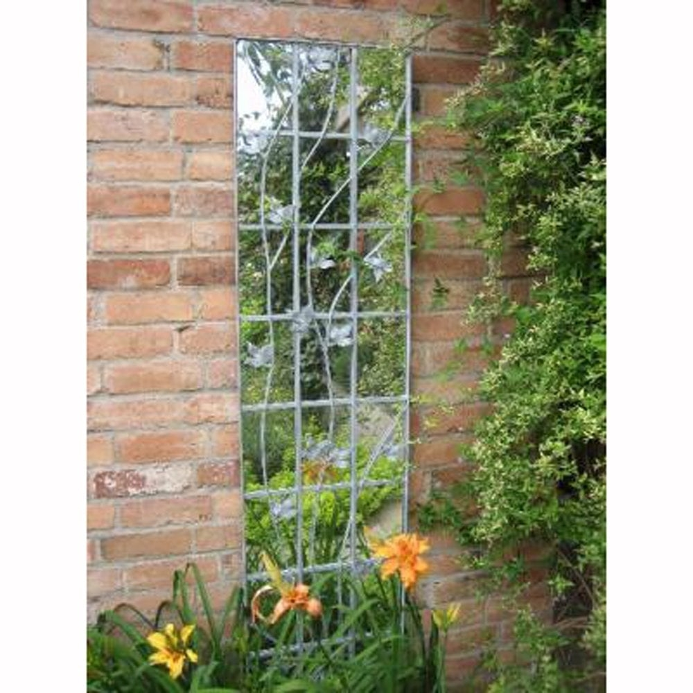 Parallax Galvanised Metal Leaf Trellis Garden Mirror Garden Street Within Garden Mirror (Image 13 of 15)