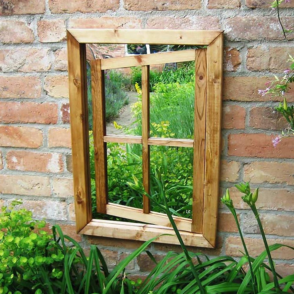 Parallax Illusion Oak Open Window Outdoor Garden Mirror Internet Within Garden Mirror (Image 14 of 15)