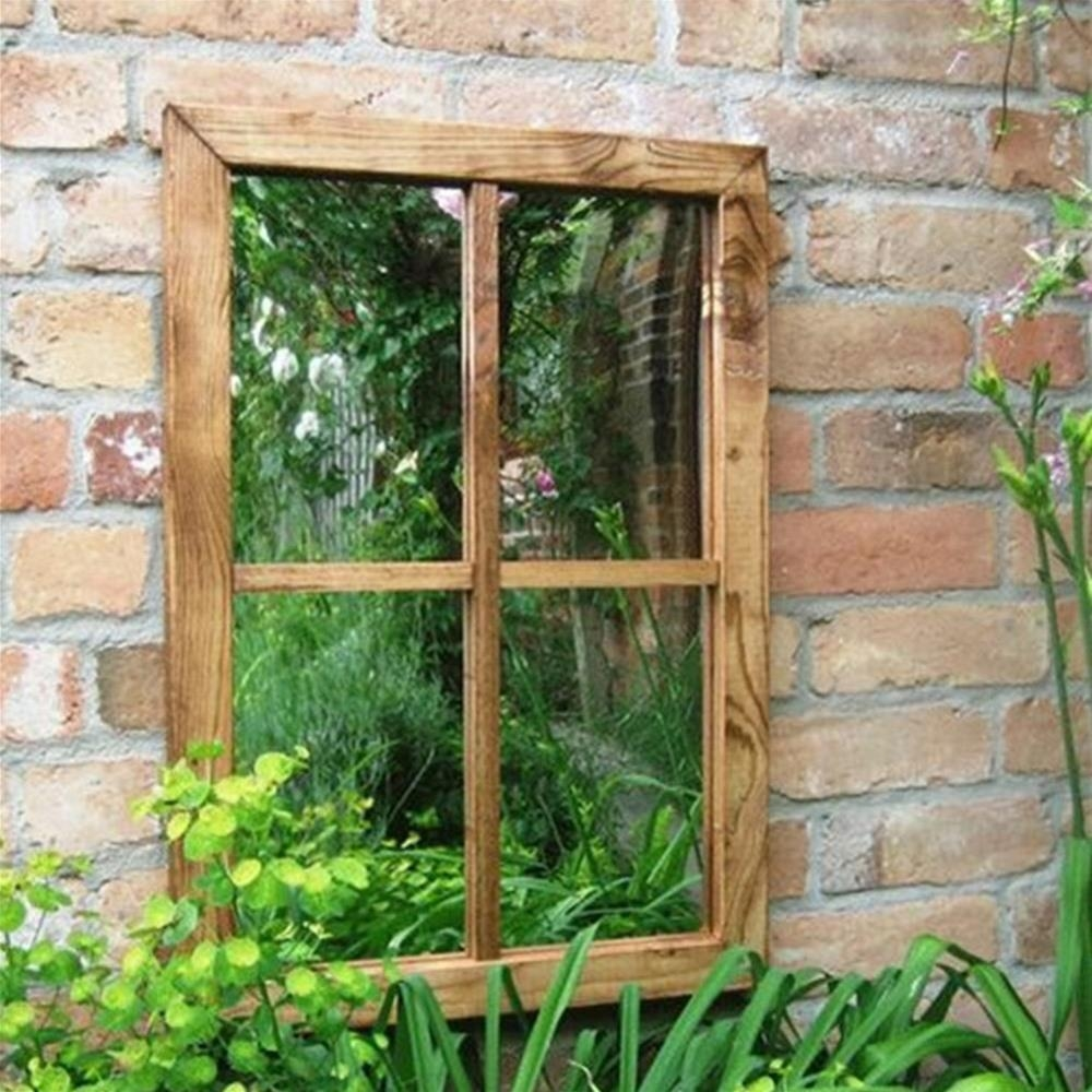 Parallax Illusion Victorian Window Outdoor Garden Mirror Pertaining To Garden Mirror (Image 15 of 15)