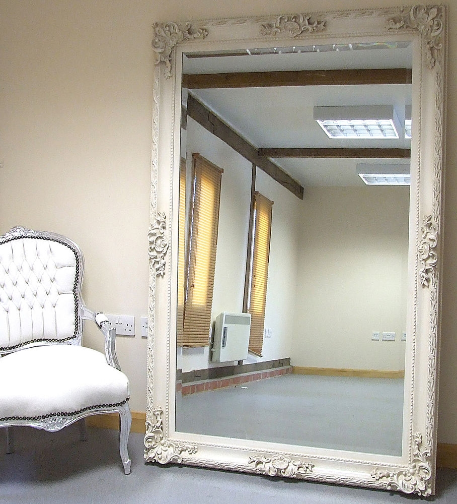 Paris Ivory Extra Large Shab Chic Full Length Leaner Floor For Ornate Leaner Mirror (Image 13 of 15)