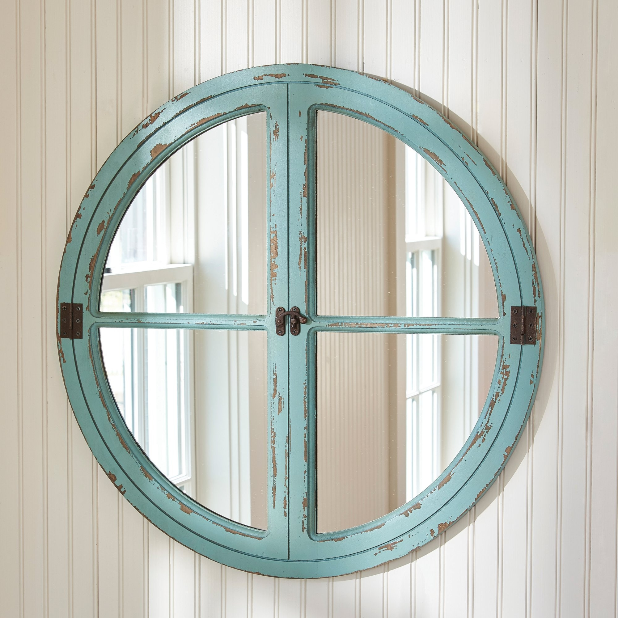 Parkdesignssplitp Round Window Sea Wall Mirror Reviews Wayfair With Regard To Blue Round Mirror (Image 9 of 15)
