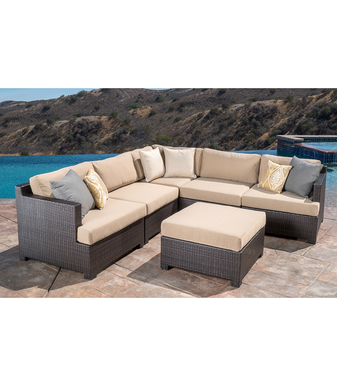 Patio Furniture Belmont 6 Piece Modular Sectional Set Within 6 Piece Modular Sectional Sofa (Image 9 of 15)