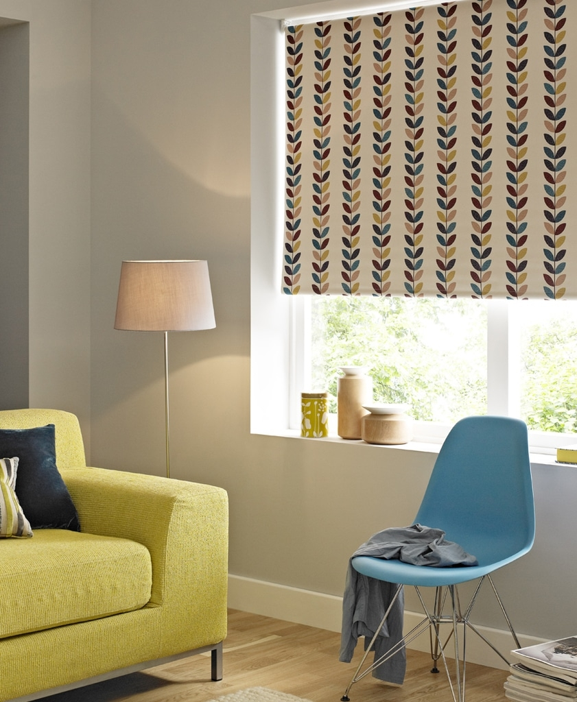 Patterned Blackout Roller Blind Multi Coloured Leaf Design Blind For Patterned Roller Blind (Image 9 of 15)