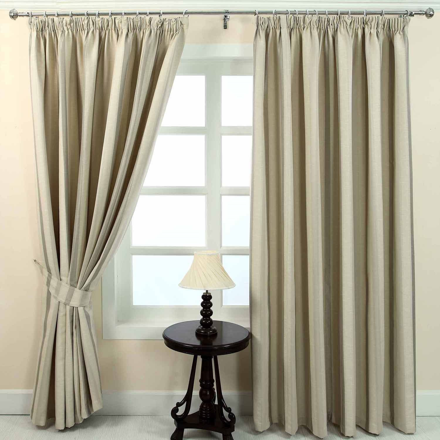 Pencil Pleat Jacquard Striped Curtains Fully Lined Blue Cream Intended For Green And Cream Striped Curtains (Image 12 of 15)