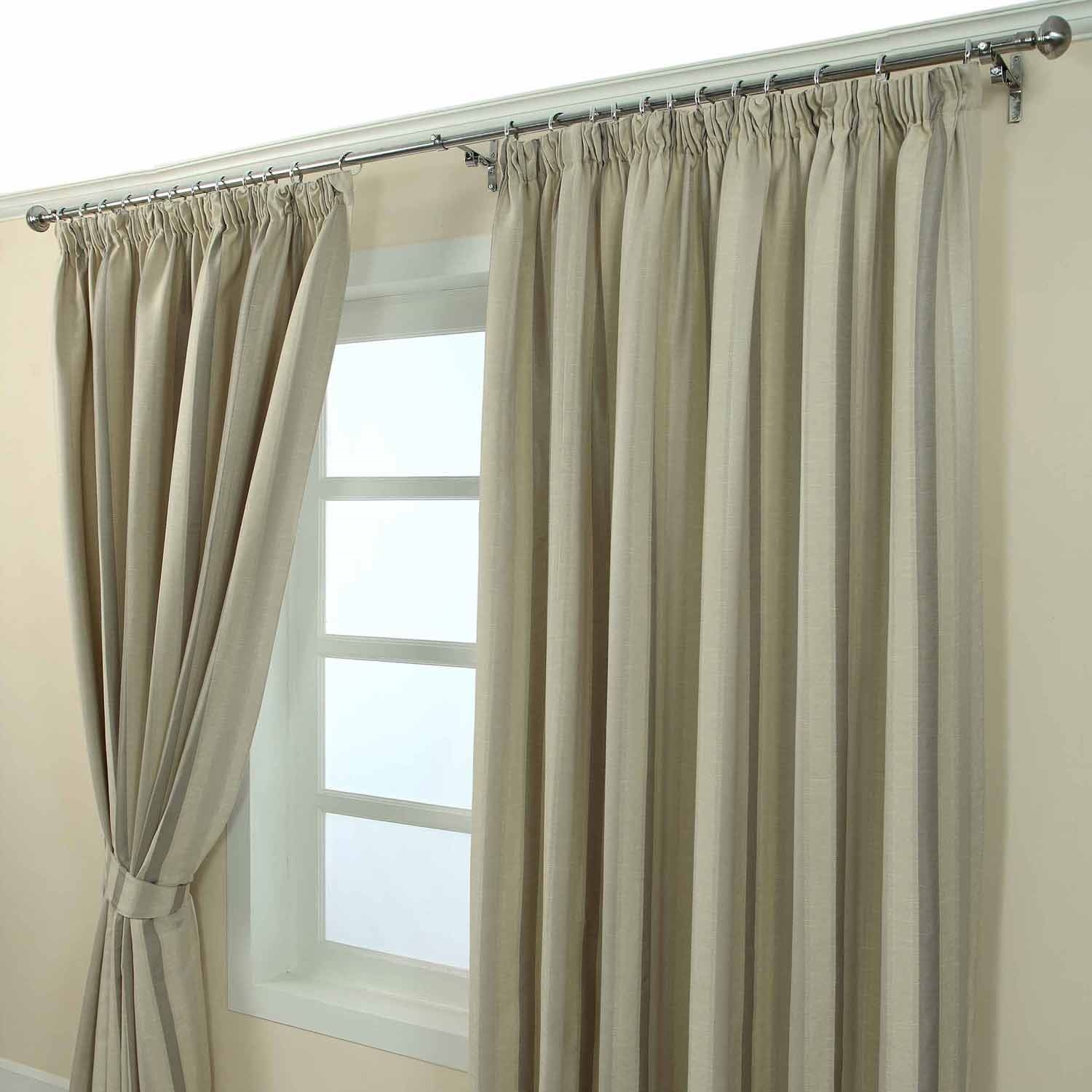 Pencil Pleat Jacquard Striped Curtains Fully Lined Blue Cream Within Green And Cream Striped Curtains (Image 13 of 15)