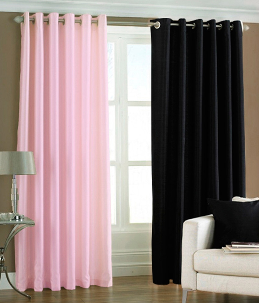 Pindia Set Of 2 Long Door Eyelet Curtains Solid Blackpink Buy Throughout Long Eyelet Curtains (Image 11 of 15)