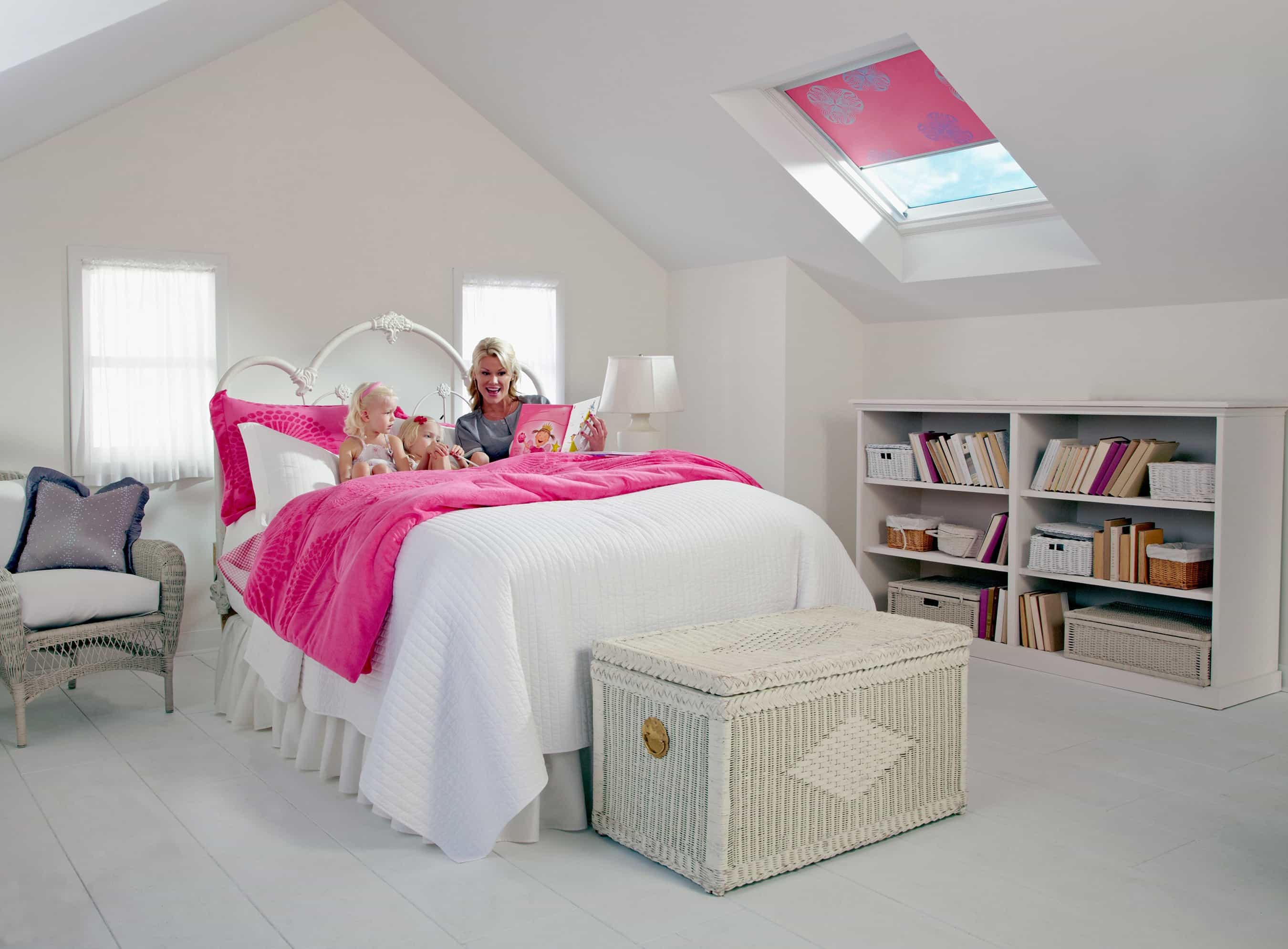 Pink Color Skylight Blind Shade On Attic Bedroom For Girl (Image 22 of 25)