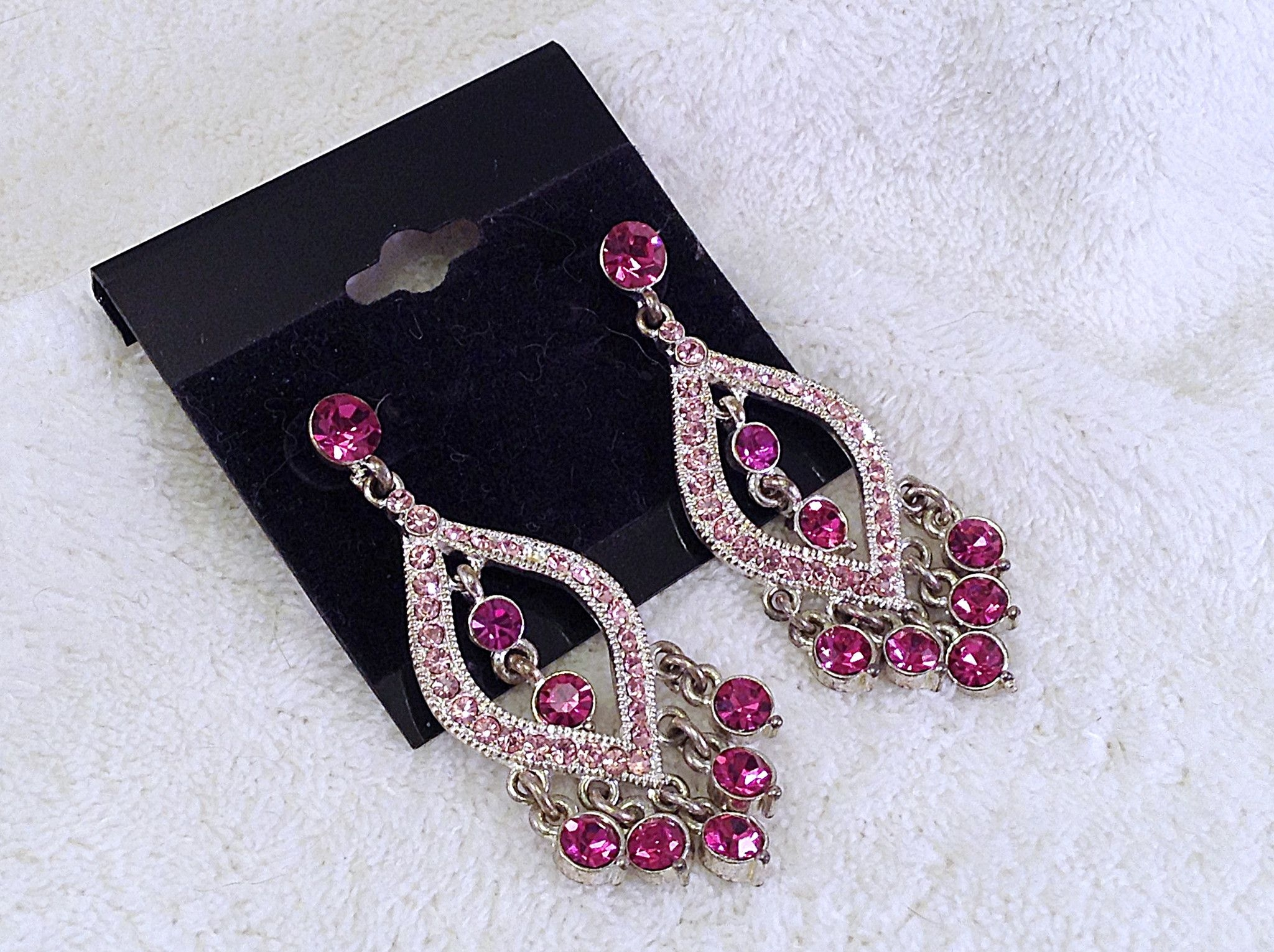 Pink Fuschia Silver Chandelier Earrings Pink Products And Throughout Fuschia Chandelier (Image 10 of 15)