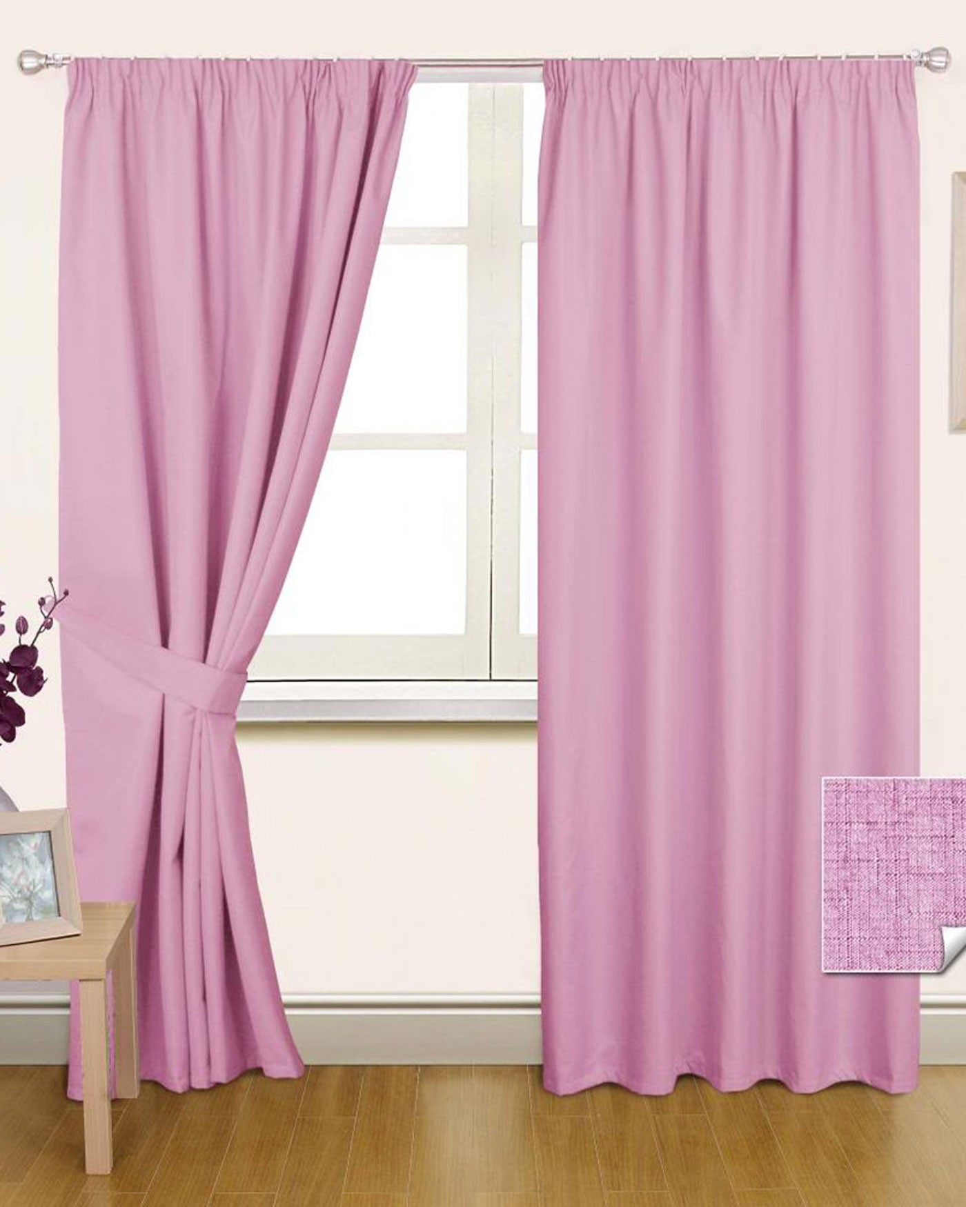 Pink Pencil Pleat Blackout Curtain Pair Homescapes Inside Pencil Pleat Blackout Curtains (Image 8 of 15)