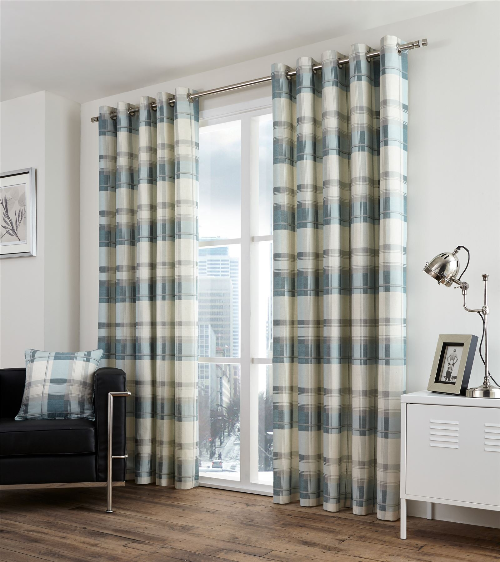 Plaid Check Teal Beige Lined 100 Cotton Ring Top Curtains 7 Intended For Lined Cotton Curtains (Image 13 of 15)
