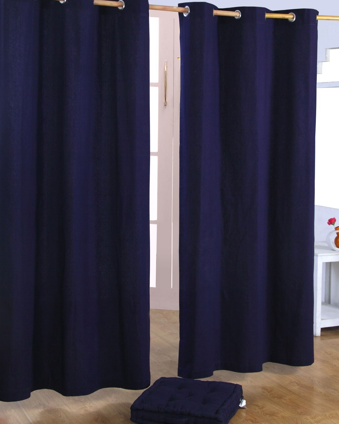 Plain Blue Eyelet Curtains With Regard To Cotton Eyelet Curtains (View 11 of 15)